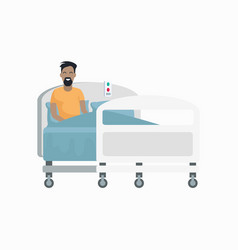 male patient on hospital bed vector image vector image