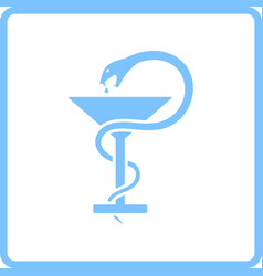 Medicine sign with snake and glass icon vector