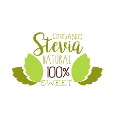 Organic stevia natural sweet logo symbol healthy vector