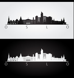 Oslo skyline and landmarks silhouette vector
