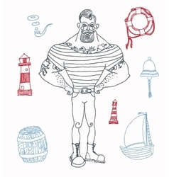 portrait of bearded and tattooed sailor set vector image