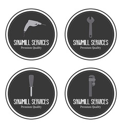 Sawmill labels objects vector