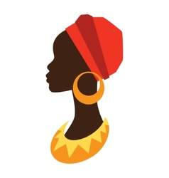 Silhouette of african girl in profile with vector