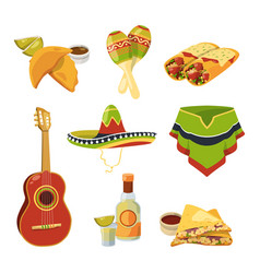 traditional mexican cuisine food and other vector image