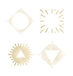 tribal boho sunburst frames gold hipster logo vector image