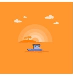 Tropical Sea Landscape outline vector image