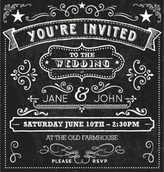 Wedding chalkboard invitation elements vector