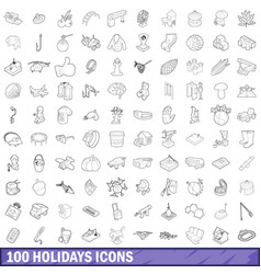 100 holidays icons set outline style vector image vector image