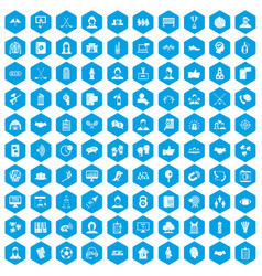 100 team icons set blue vector