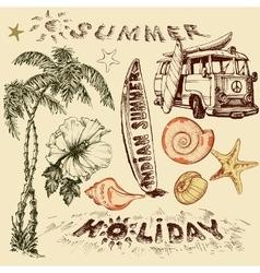Summer holiday set surf elements vector image