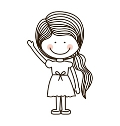 silhouette girl with raised hand vector image