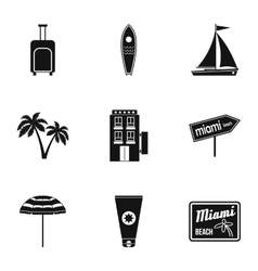 Holiday in miami icons set simple style vector