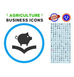 Pig knowledge rounded icon with set vector