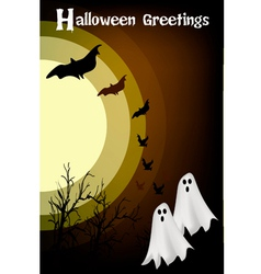 Two happy halloween ghost on night background vector