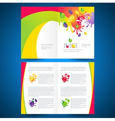 Catalog brochure folder fruit juice liquid splash vector