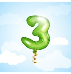 Number Three Balloon vector image