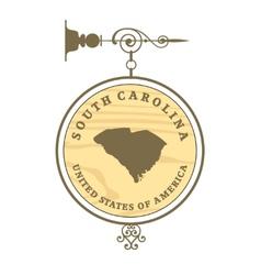 Vintage label South Carolina vector image