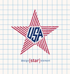 Hand draw usa star with american flag elements vector