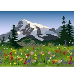 Landscape summer alpine medow poster vector