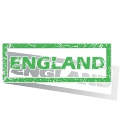 Green outlined england stamp vector