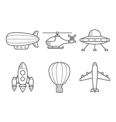 Icon set of aero vehicles helicopter plane ufo vector