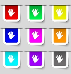 Hand icon sign set of multicolored modern labels vector