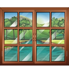 A window near the flowing river vector