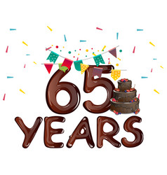 anniversary card 65 anniversary template design vector image