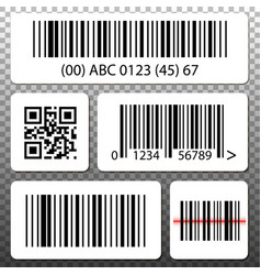 Barcode and qr code stickers template set vector
