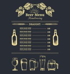 Beer menu design template pub restaurant vector