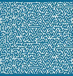 blue labyrinth pattern on white background vector image vector image