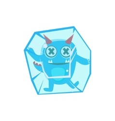 Blue monster with horns and spiky tail frozen in vector