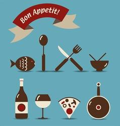 bon appetit icons vector image vector image