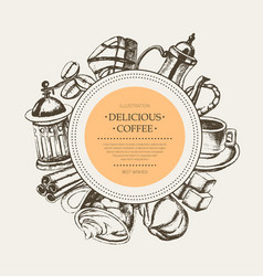 Delicious coffee - monochromatic hand drawn round vector