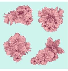 Et of vintage flowers compositions vector