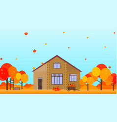 farm house in autumn season background vector image