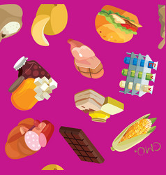 Fast food sausages heavy foods fast vector