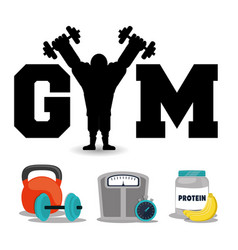 Gym fitness concept protein weight workout vector