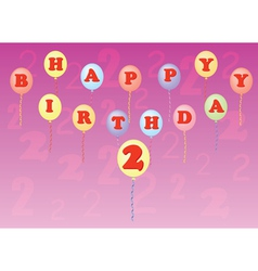 happy birthday two years vector image