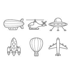 Icon set of aero vehicles Helicopter plane UFO vector image