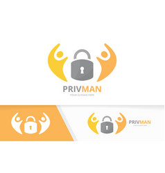 lock and people logo combination safe and vector image vector image