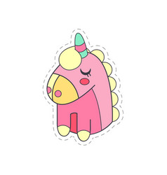 lovely funny pink unicorn cloth patch applique vector image vector image