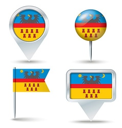 Map pins with flag of transylvania vector