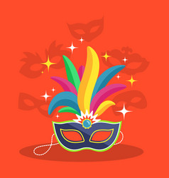 mask with multicolor feather on red vector image vector image