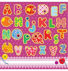 Patchwork ABC alphabet vector image vector image