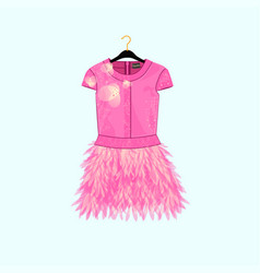 Pink party dress with feather decor vector
