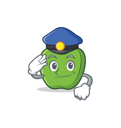 Police green apple character cartoon vector