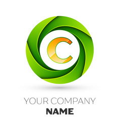 Realistic letter c logo in the colorful circle vector