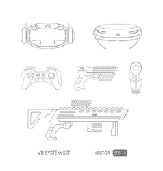 Set of accessories for virtual reality system vector image vector image