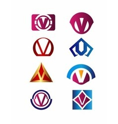 Set of letter V logo Branding Identity Corporate v vector image